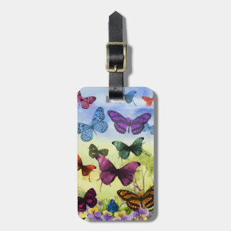 Colorful watercolor butterflies illustration luggage tag