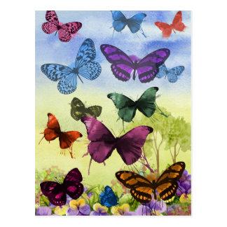 Colorful watercolor butterflies illustration postcard