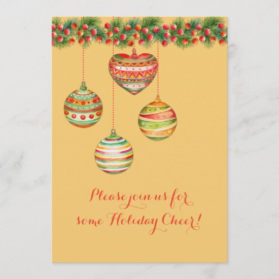 Colorful Watercolor Christmas Balls Party Invite