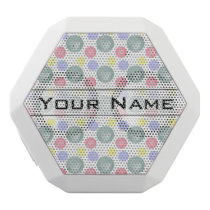 Colorful Watercolor Circle Pattern White Bluetooth Speaker