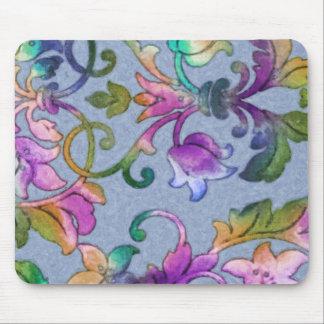 Colorful Watercolor Damask Mousepad