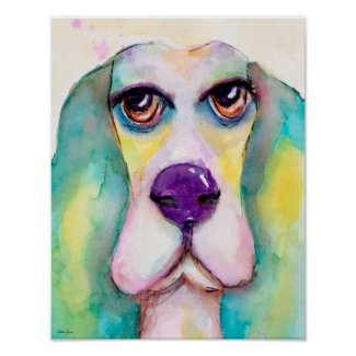 Colorful Watercolor Dog Basset Hound Green Blue Poster