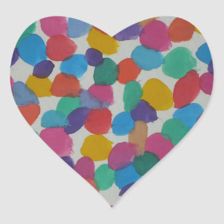 Colorful Watercolor Dots Heart Sticker