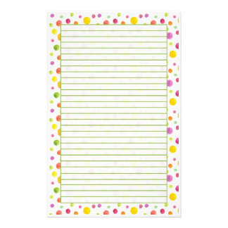 Colorful Watercolor Dots Lined Stationery Paper