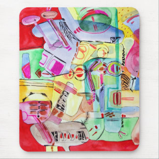 Colorful watercolor drawing mouse pad