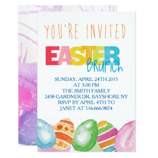 Colorful watercolor Easter Invitations