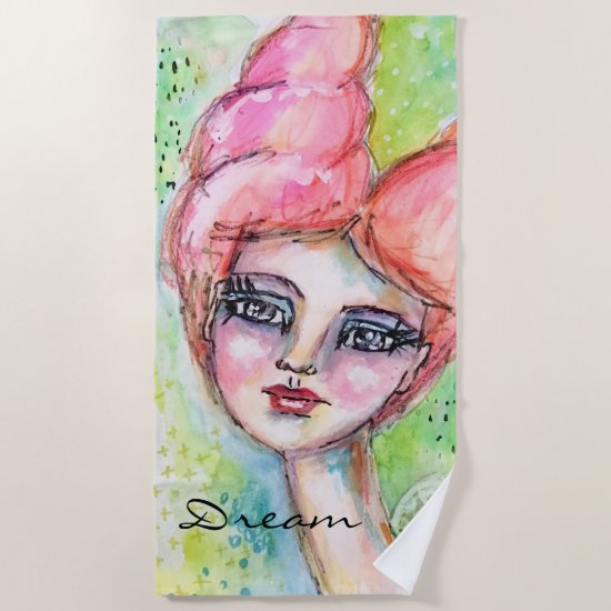 Colorful Watercolor Fairy Cute Girly Whimsical Art Beach Towel
