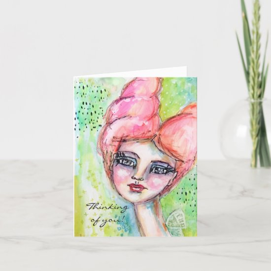 Colorful Watercolor Fairy Girly Whimsical Art Note Card