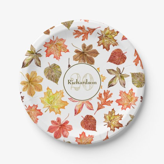 Colorful watercolor fall leaves family name paper plate