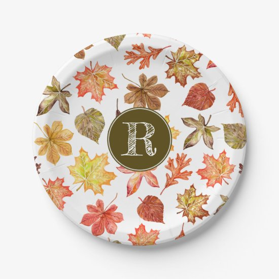Colorful watercolor fall leaves pattern monogram paper plate