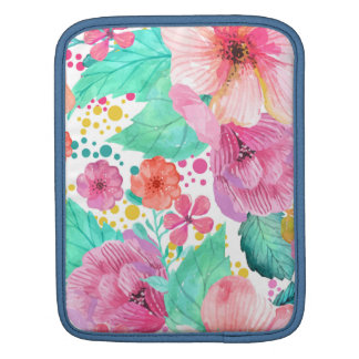 Colorful WaterColor Floral Collage Sleeve For iPads