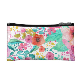 Colorful WaterColor Floral Collage Pattern Makeup Bag