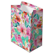 Colorful Watercolor Floral Collage Pattern Medium Gift Bag