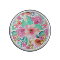 Colorful Watercolor Floral Collage Pattern Speaker