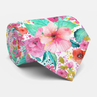 Colorful WaterColor Floral Collage Pattern Tie