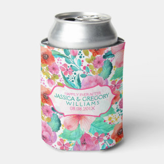 Colorful WaterColor Floral Collage Template Can Cooler