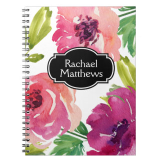 Colorful Watercolor Floral Custom Spiral Notebook