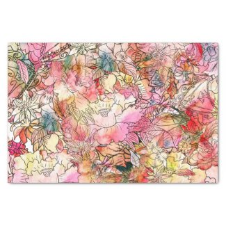 """Colorful Watercolor Floral Pattern Abstract Sketch 10"""" X 15"""" Tissue Paper"""