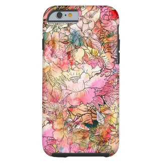 Colorful Watercolor Floral Pattern Abstract Sketch Tough iPhone 6 Case