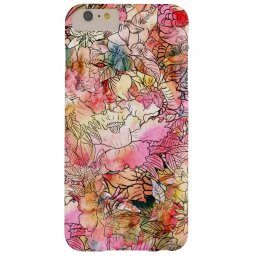 Colorful Watercolor Floral Pattern Abstract Sketch Barely There iPhone 6 Plus Case
