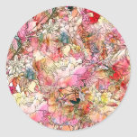 Colorful Watercolor Floral Pattern Abstract Sketch Classic Round Sticker