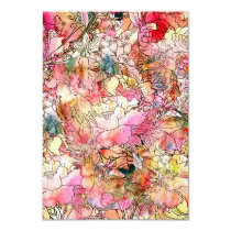 Colorful Watercolor Floral Pattern Abstract Sketch Invitation