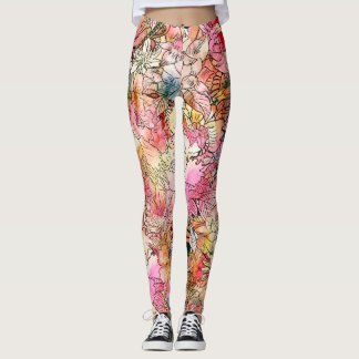Colorful Watercolor Floral Pattern Abstract Sketch Leggings