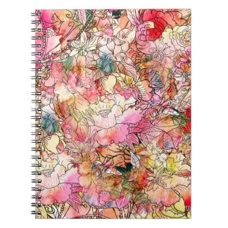 Colorful Watercolor Floral Pattern Abstract Sketch Note Book
