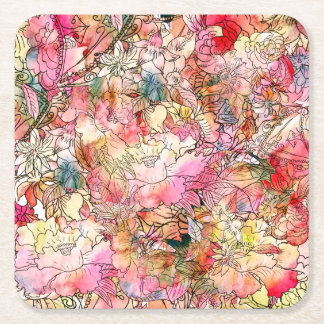 Colorful Watercolor Floral Pattern Abstract Sketch Square Paper Coaster