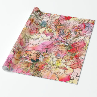Colorful Watercolor Floral Pattern Abstract Sketch Wrapping Paper