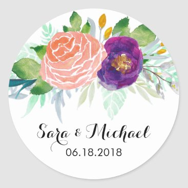 oasis_landing Colorful Watercolor Floral Wedding Classic Round Sticker