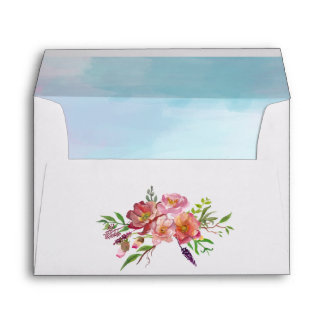 Colorful Watercolor Floral Wedding Envelope
