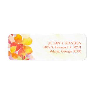 Colorful Watercolor Floral Wedding Return Address Label