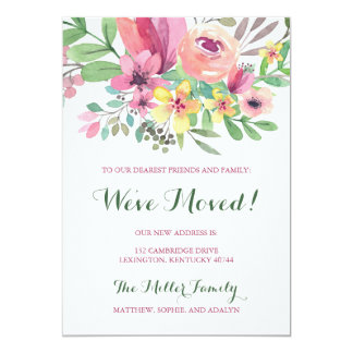 Colorful Watercolor Flower We've Moved Card
