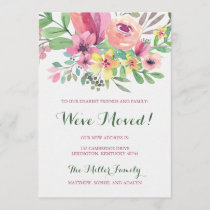 Colorful Watercolor Flower We've Moved Holiday Card