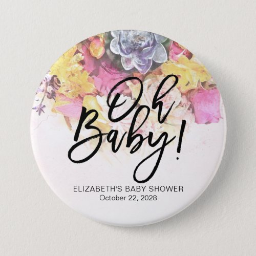 Colorful Watercolor Flowers Botanical Baby Shower Button