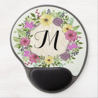 Colorful Watercolor Flowers Floral Fine Monogram Gel Mouse Pad