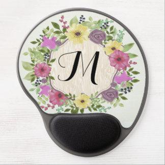 Colorful Watercolor Flowers Floral Fine Monogram Gel Mouse Pad