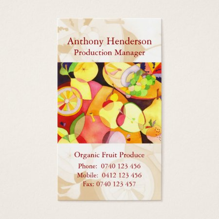 Colorful Fruits Organic Fruit Produce Business Cards