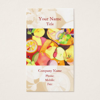 Colorful Watercolor Fruits Catering Business Cards