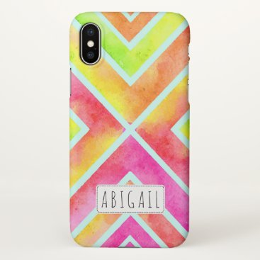Beach Themed Colorful watercolor geometric stripes personalized iPhone x case