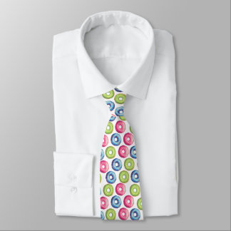 Colorful Watercolor Glazed Donut Illustration Tie