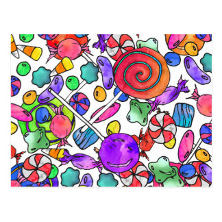 Colorful Watercolor Hand Drawn Candy Pattern Postcard