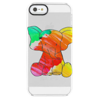 Colorful watercolor hand drawn elephant clear iPhone SE/5/5s case
