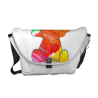 Colorful watercolor hand drawn elephant courier bag