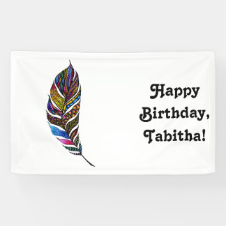 Colorful Watercolor Hand Drawn Tangle Feather Banner