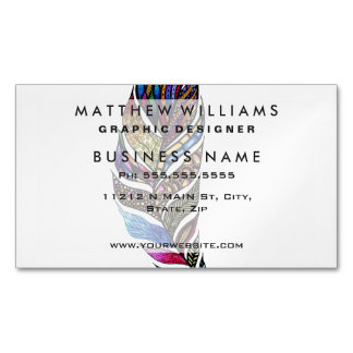 Colorful Watercolor Hand Drawn Tangle Feather Business Card Magnet