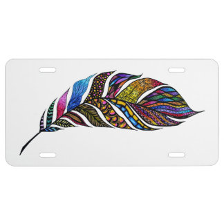 Colorful Watercolor Hand Drawn Tangle Feather License Plate