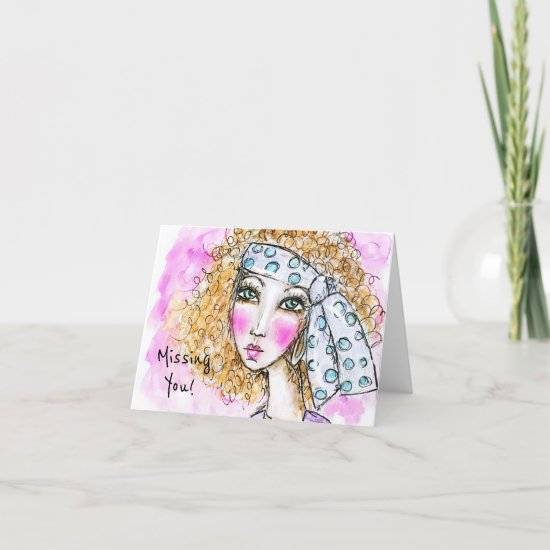 Colorful Watercolor Hippie Girl Whimsical Art Note Card