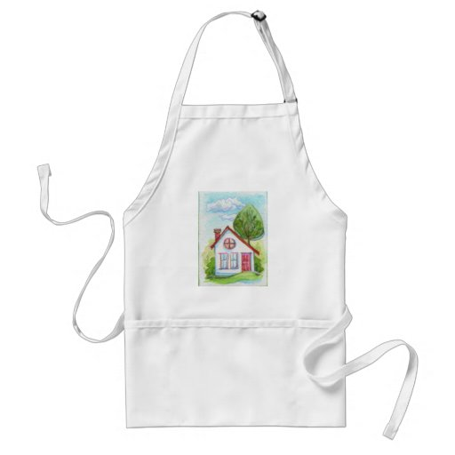 Colorful Watercolor House Adult Apron